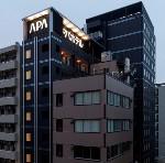 アパホテル<新富町駅前>:外観(夜)